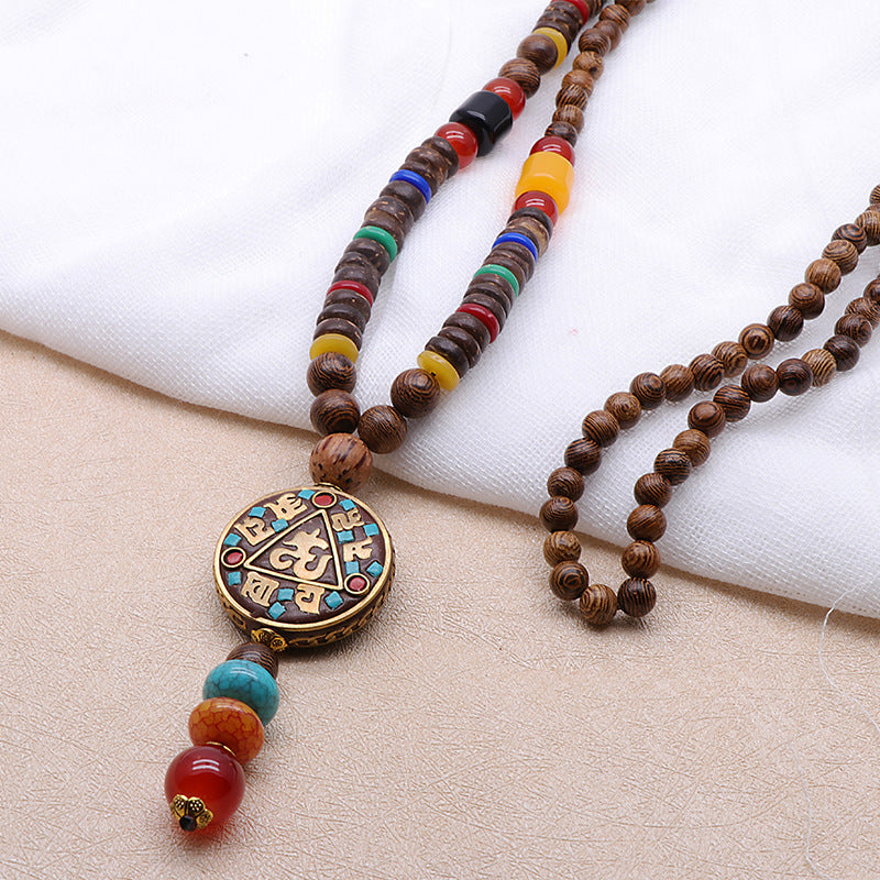 Vintage Wood Beaded Pendant Necklaces Prayer Beads Necklace