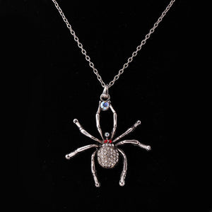 Fashion Spider Pendant Rhinestone Chain Antique Silver Necklace Women's Jewelry