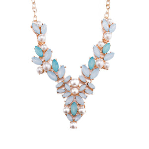 V-Neck Bohemian Necklace Crystal Pearl Accessories Summer Fashion Jewelry for Women (Blue)