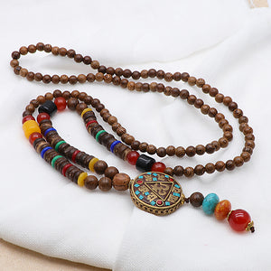 Vintage Wood Beaded Pendant Necklaces Prayer Beads Necklace (Brown)