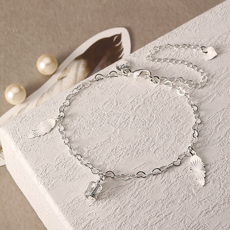 Silver Plated Heart Chain Crown Pendant Irregular Plate Anklet Women Jewelry