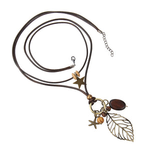 Leaf Pendant Wood Star Charm Wax Rope Long Women's Necklace (As Picture)