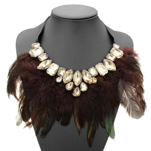 Luxury Feather Crystal Pendant Statement Ribbon Collar Choker Necklace