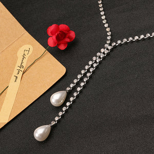 Elegant Women Jewelry Double Drop Pearl Pendant Shiny Rhinestone Silver Plated Necklace Best Gift