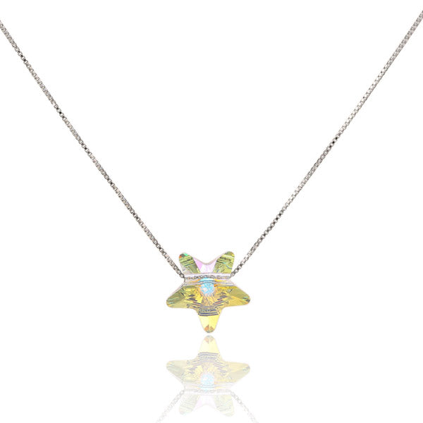 Square Cube S925 Silver Water Drop Star Crystal Necklace