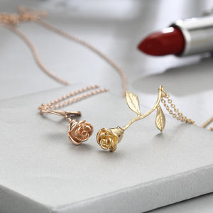 Women's Rose Flower Pendant Necklace Valentine's Day Gift