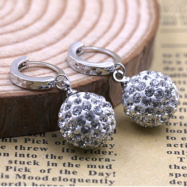 Silver Plated Zircon Ball Dangle Drop Hoop Earrings Women Jewelry