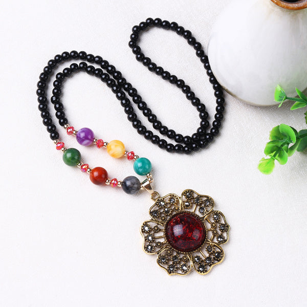 Retro Flower Grape Beeswax Rhinestone Beaded Long Necklace