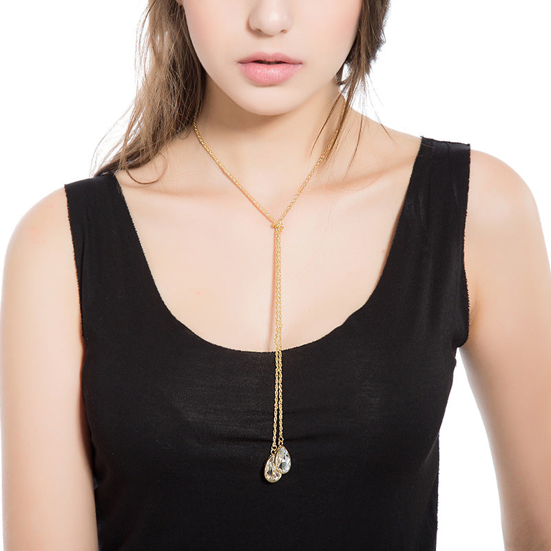 Trendy Water Drop Crystal Gold Y Lariat Long Necklace Sweater Chain for Women