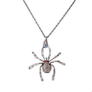 Fashion Spider Pendant Rhinestone Chain Antique Silver Necklace Women's Jewelry (Antique Silver)