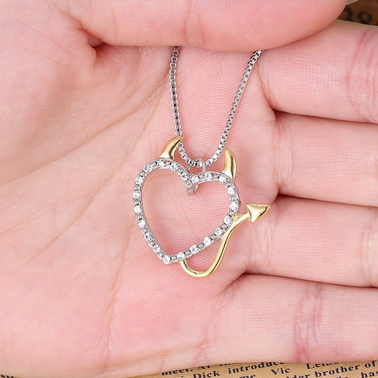 Sweet Couple Devil Love Necklace Crystal Pendants Jewelry