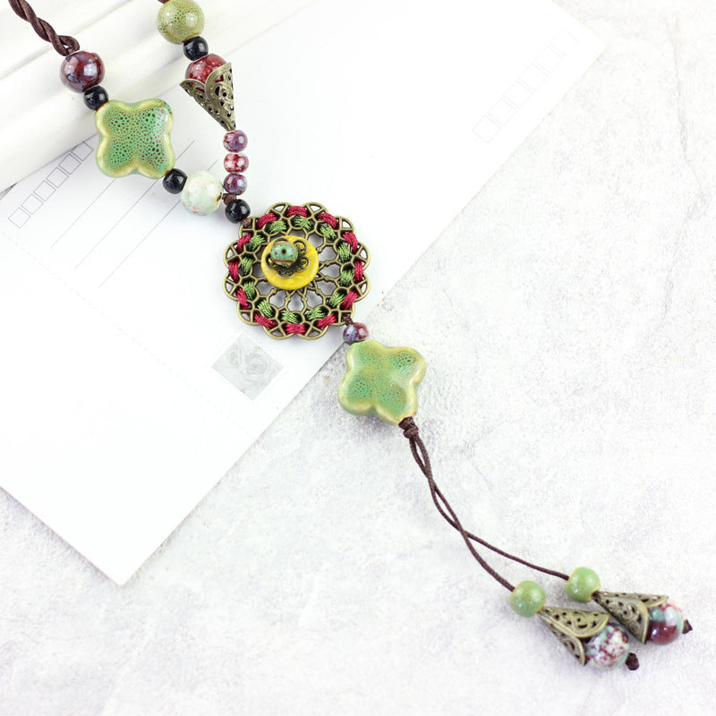 Drop Pendant Lucky Flower Adjustable Sweater Necklace