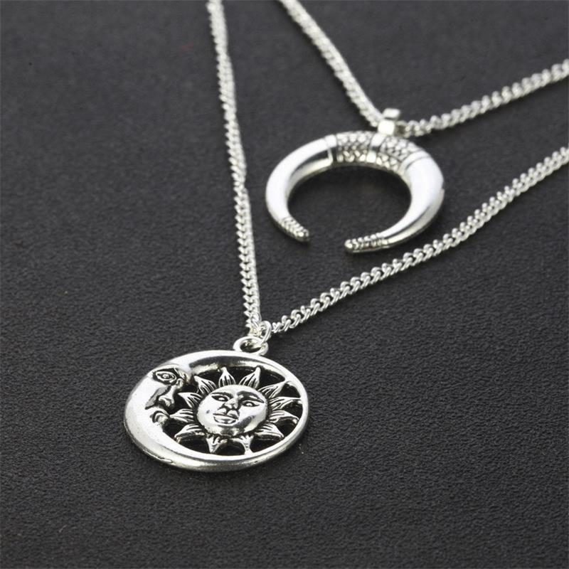 Vintage Sun Moon Pendant Necklace