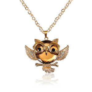Vintage Crystal Rhinestone Owl Bird Sweater Chain Necklace For Women
