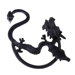 Unisex Statement Punk Dragon Ear Cuff Black Gold Ear Clip