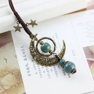Vintage Star Moon Necklace Ethnic Ceramic Adjustable Pendant