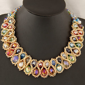 Women Multicolor Crystal Charm Gold Exaggerated Bib Necklace