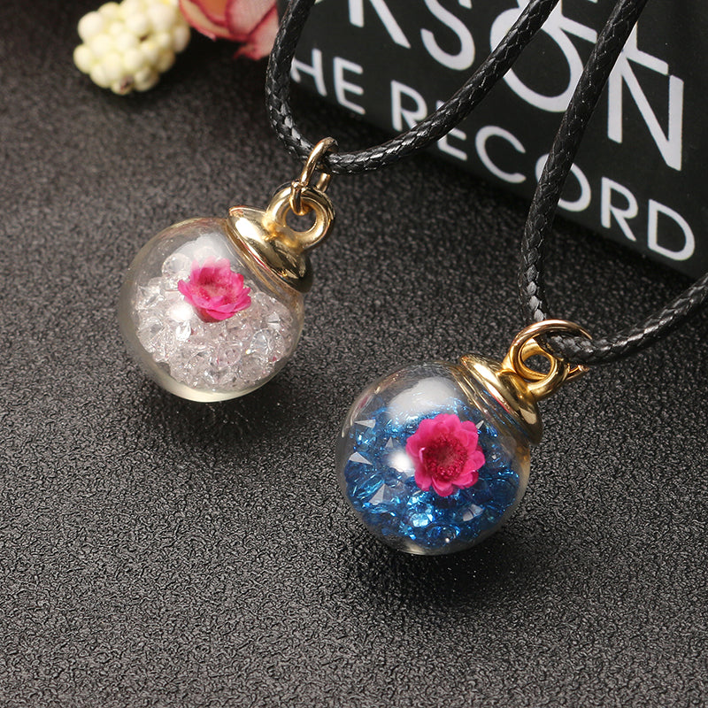 Sweet Crystal Glass Ball Natural Flower Wax Rope Women Necklaces