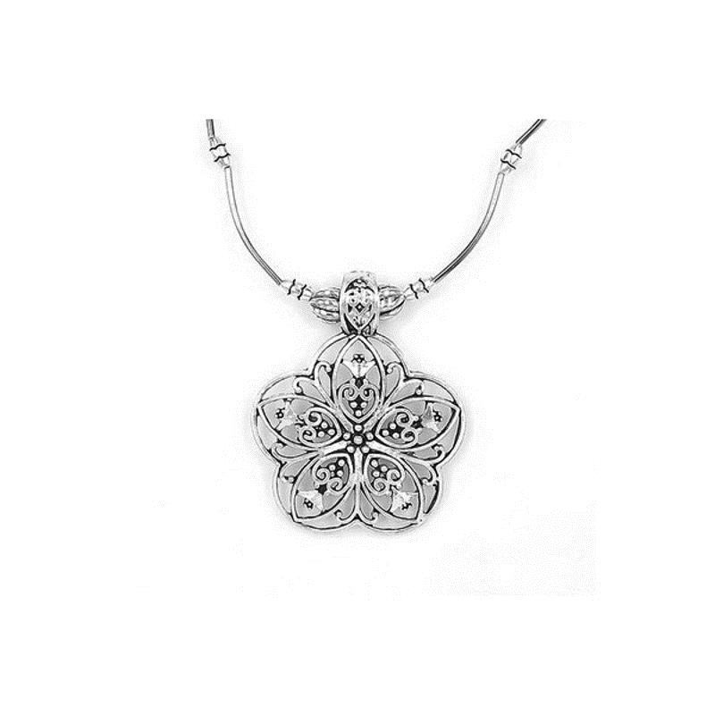 Ethnic Tibetan Hollow Flower Pendant Antique Silver Necklace