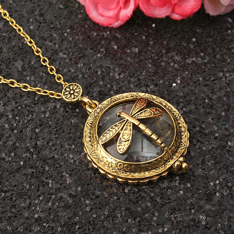 Tree Life Hollow Vintage Retro Magnifier Pendant Glass Necklace Chain