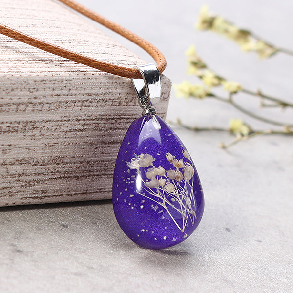 Luminous Resin Dried Flower Charm Neckalce Water Drop
