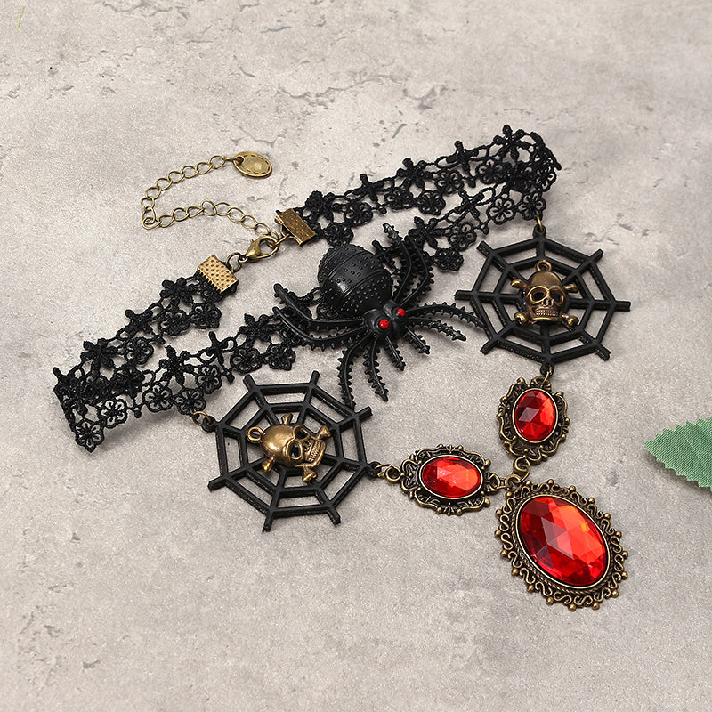 Vintage Lace Skull Head Choker Crystal Spider Web Necklace Halloween Party Accessories