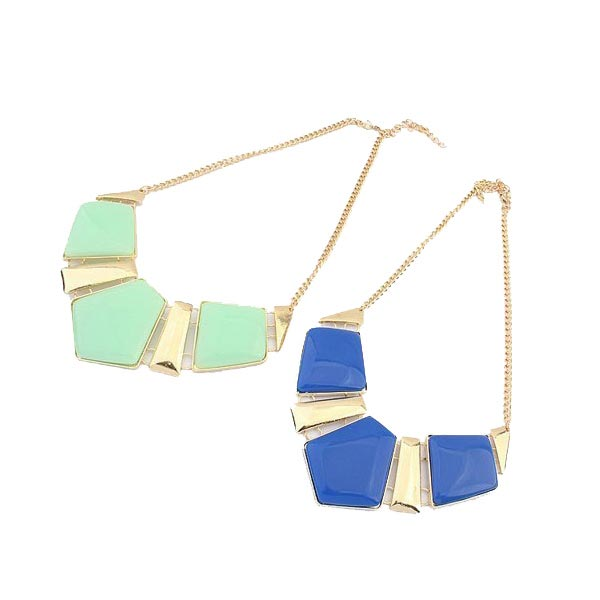 Geometric Pendant Statement Necklace Gold Plated Chain Choker