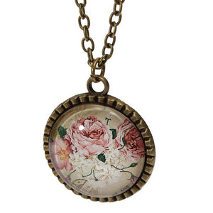 Retro Reindeer Butterfly Glass Cabochon Pendant Necklace Multi Pattern