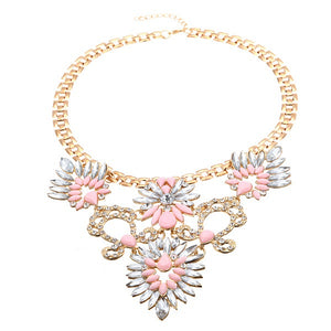 Rhinestone Crystal Acrylic Flower Leaf Pendant Choker Necklace