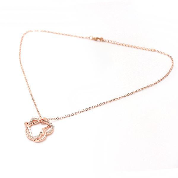 Full Crystal Twine Double Hearts Pendant Necklace For Women