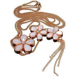 Opal Crystal Three Flowers Double Layers Long Golden Chain Necklace