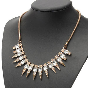 Punk Gold Rhinestone Metal Spike Rivets Snake Chain Necklace For Women