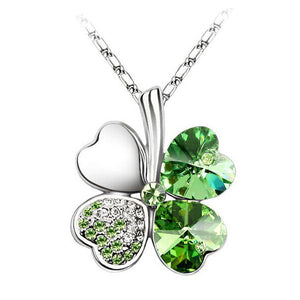 Four Leaf Clover Crystal Heart Pendant Necklace For Women