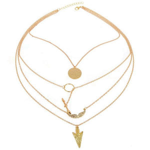 Gold 4 Layers Angel Wing Arrows Triangle Pendant Charm Necklace