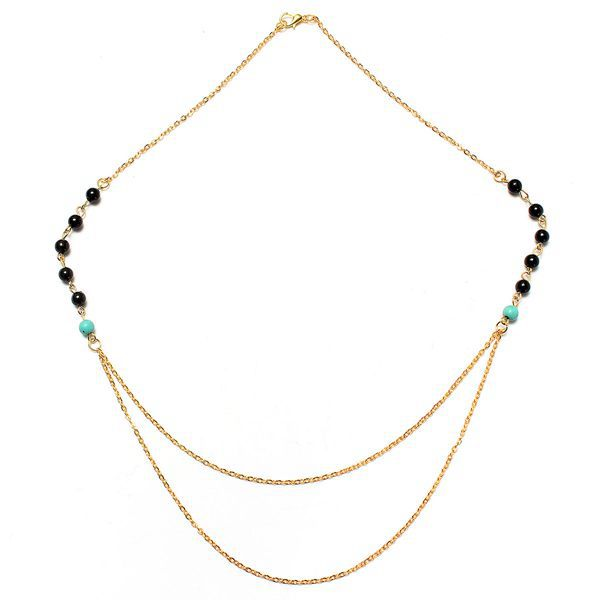 Gold Silver Double Layers Thin Chains Beads Tassel Pendant Necklace