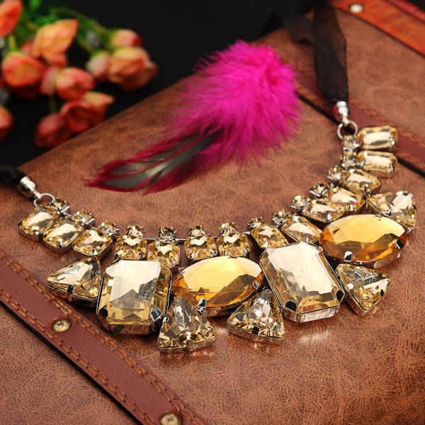 Luxury Big Crystal Statement Geometry Ribbon Chain Chunky Necklace