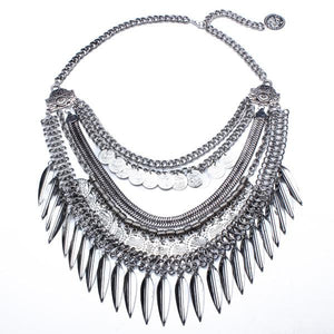 Bohemia Multilayer Coins Leaves Tassel Pendant Statement Necklace