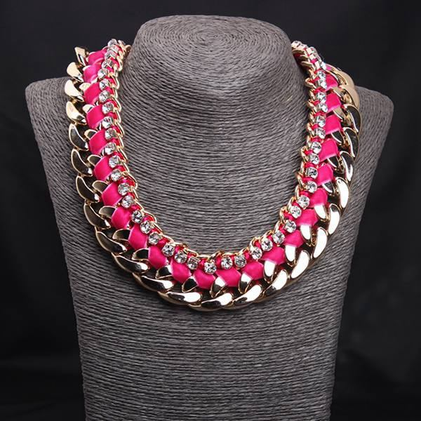 Rhinestone Woven Rope Thick Chain Collar Choker Statement Necklace