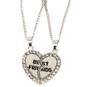 Rhinestone Broken Heart Double Parts Best Friend Pendant Necklaces