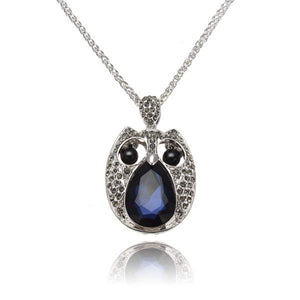 Vintage Rhinestone Hollow Beads Eyes Owl Sweater Pendant Necklace