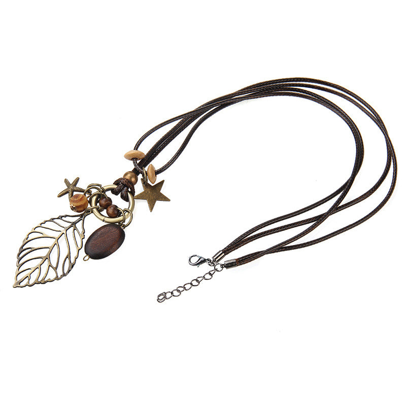 Leaf Pendant Wood Star Charm Wax Rope Long Women's Necklace