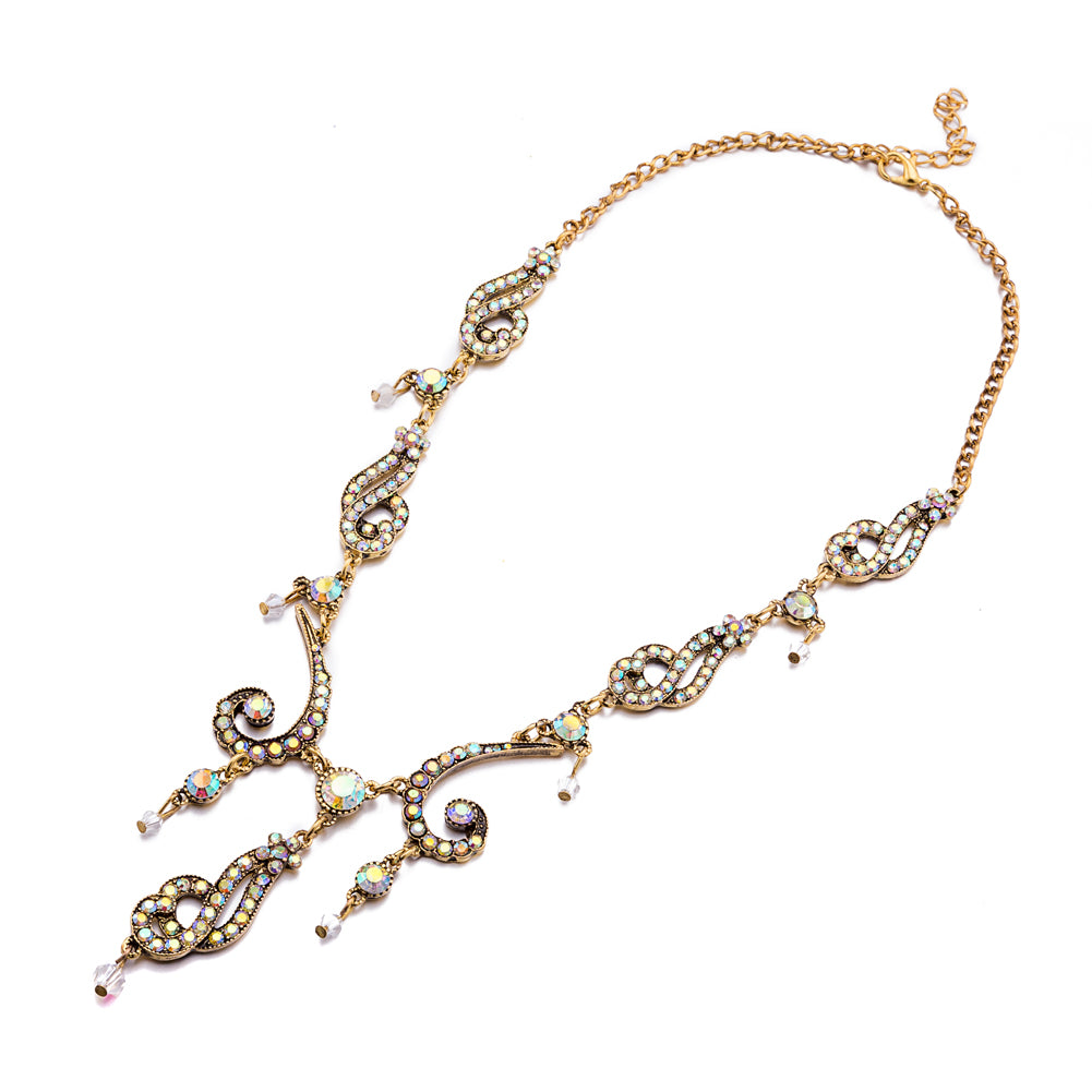 Golden Luxury Irregular Shape Statement Necklace Shining Crystal Decor Necklace for Women