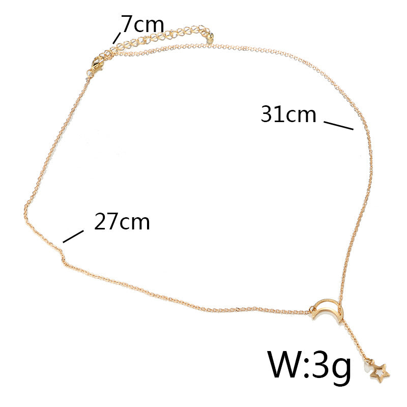 Fashion Hollow Star Moon Pendant Long Necklace Simple