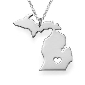 American Michigan State Map Stainless Steel Unisex Silver Plated Necklace