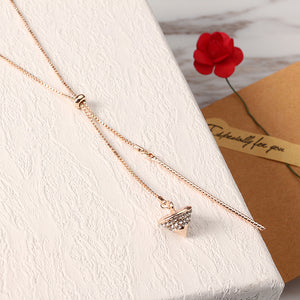 Elegant Necklace Rhinestone Gyro Tassel Pendant Sweet Rose Gold Plated Long Necklace for Women