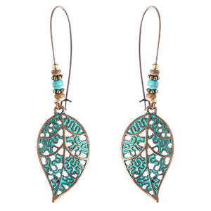 Vintage Bohemian Hollow Leaf Drop Earrings for Women