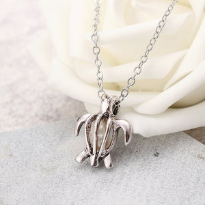 Retro Pearl Necklace Fashion Silver Color Hollow Openable Turtle Can Open Pendant Women Jewelry (Silver)