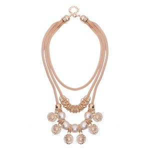Bohemian Multilayer Gold Artificial Pearl Hollow Ball Unique Style Necklace Party Gift for Women  (Gold)