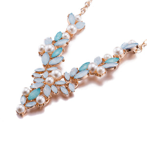 V-Neck Bohemian Necklace Crystal Pearl Accessories Summer Fashion Jewelry for Women