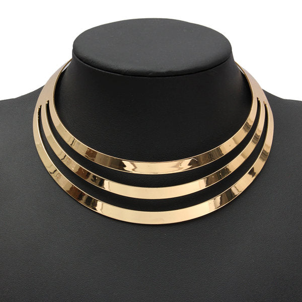 Gorgeous Metal Multi Layer Choker Bib Collar Necklace Jewelry